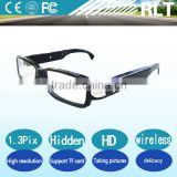 HD 1.3Megapixels 2560*1440 wireless glasses hidden digital camera black piano lacquer support video record and shooting picture