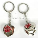 love rose metal heart shape solid perfume container /lip gloss keychain, various design, OEM designs accepted.<DKCA9203>