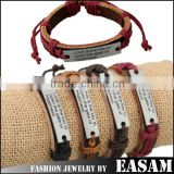 Vintage letters engraved with metal plate pu leather bracelet                                                                         Quality Choice