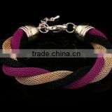 Gold Bangle Stainless Steel Twisted Cable Womens Bracelet Cuff Open End