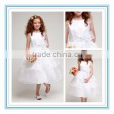 New White 3 Layered Bodice Ball Gown Flower Girl Gown Organza Sleeveless Girl Flower Girl Dresses for Wedding(BNBO-FG01)