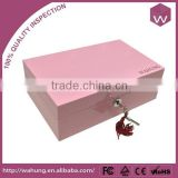Fancy Pink Wooden Jewelry Box Decorated With Mother Of Pearl Custom Image