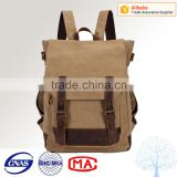 High quality and cheap price canvas backpack bag with leather trim