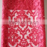Latest nigerian french lace pearl embroidered fabric high quality nigerian beads styles picture african fabrics
