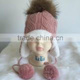 Kids Baby Winter Hats with Hair Knitted Children Kids Hat Fur Pom Pom Hats
