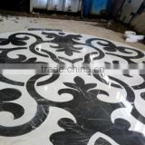Black and white marble stone, marble polishing waterjet, water jet marble round mosaic