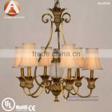 6 Light Antique Solid Brass Lamp in Bronze Color with white fabric shade