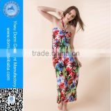 New arrival ice silk red flower cover up beach dress long halter beautiful sexy girls summer dress