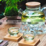 Borosilicate Glass Tea Coffee Pot With Bamboo lid With Handle