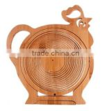 Cowboy Farm Product Animal Little Chicken Shape Bamboo Wooden Foldable Collapsible Fruit and Egg Basket