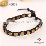 Beads in bulk jewelry Faceted gold plated alloy beads wrap bracelets with deep red leather bracelets