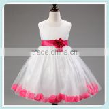 New Cute Sleeveless O-Neck Waist Flower Back Bow Petal Hem Cute Dress Communion Flower Girl Pageant Illusion Petal Dress