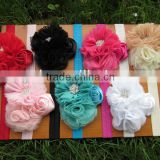 Hot Selling Shabby Flower with Soft Baby Headbands Girl Hairbands for Hair Accessories and Kids Headbands IN STOCK