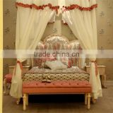 European style antique ivory color and pink hand drawing children wooden carved girl princess bed with canopy - BF07-70357