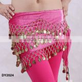 Original more coins velvet belly dance coins hip belt belly dance hip scarf