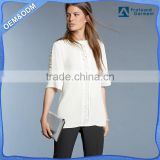 lady 3 4 sleeve lace insert plaid white poplin shirt chiffon polyester fabrics lady shirts high quality best price manufacturer