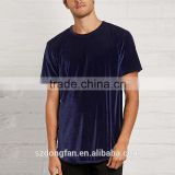 New Design Men Fashion Blouse Lightweight Round Neck Velvet Fabric Tee Shirt Blank T Shirt