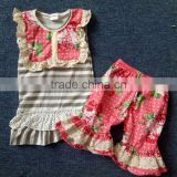 hot sale dress 2pcs outfit wholesale pernickety christmas children girls ruffle outfit