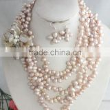 Amazzing desian!!! Your beautiful big freshwater light pink pearl beads necklace earrings