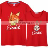 New Movie Zootopia Couple T-Shirt,Cartoon T-shirt wholesale price