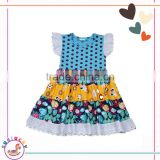 JN27-03 Wholesale price 95% Cotton polka dots design kids clothes and elegant dress Smocked baby clothes