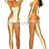 2014 metallic gold one legged clubwear cheap women plus size catsuit womans
