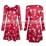 New Winter Autumn Women Christmas Skirt Santa Snowman Print Round Neck Long Sleeve A-Line Party Dress