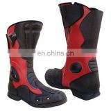 Men & women Black and Red Genuine Leather Motorbike Boots