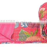 Kantha work Quilt Gudri Reversible Throw Ralli Cotton Size TWIN QUEEN Fruit print Blanket handmade Bedspread Bedding Indian