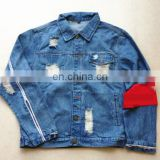 wholesale distressed denim jackets -new age gothic cotton denim jacket with embroider flowers for ladies