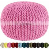 100% Cotton Knitted Round Round Pouf Outdoor Beanbag Pouf