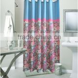 waterproof polyester bright color printed shower curtain for hotel family, flower printed bathroom curtain