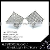 2015 American style funky white cubic zircon micro pave 925 silver rhodium gold plated stud earrings