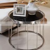 2016 Foshan Hot Sales Factory Supply Black Natural Round Glass Metal Stainless Steel Coffee Table