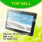 top sell Allwinner A13 7 inch capacitive touchscreen tablet Android 4.1 with wifi two cameras