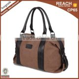 SP0325 High Quality Waterproof Waxed Canvas Duffel Bag Canvas Travel Bag with Leather Tote