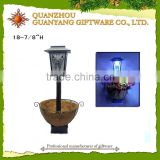 solar Garden lantern with flower pot bird house bird feeder