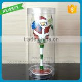 Merry Christmas Gift Glass Cup Goblet Plastic Show Box Gift Goblet Cup Glass Winter Wine Goblet Cup Glass Christmas
