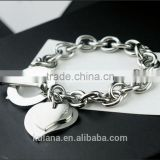 Wholesale stainless steel silver charm bracelet Love heart Bracelet with T clasp 9310