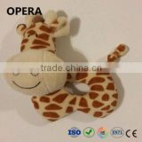 cheap free samples soft plush giraffe baby rattle toys