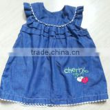2015 fashion sleeveless emp baby girls denim skirt