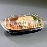 Durable Packaging for Food Small Black and Gold Black Diamond Foil Entree Take Out Pan with Dome Lid