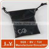custom brand leather drawstring bags black pull string pouch for jewelry