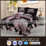 2016 cotton 3D black flower quilted bedspread set coverlet