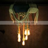 China supply antique bohemian brass hemp rope chandelier in dubai chrome finish droplight