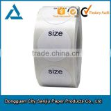 Customized garment label circular Size adhesive label heat transfer label clothing size label