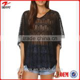 Sexy Black All Over Scallop Lace Lady Top Wholesale Woman Clothing