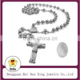 Handmade Catholic Jewelry 316L Stainless Steel Religious Rosary Beads Necklace with Jesus Crucifix Cross Pendant Made In China