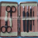 MRT-074 6pcs PU bag stainless steel with black color plastic rubber popular manicure sets