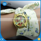 PW055 Chinese Style Rose Flower Pattern Quartz-Watch Women Bohemian cloth belt strap Lady Girl Students Casual watch Relogio